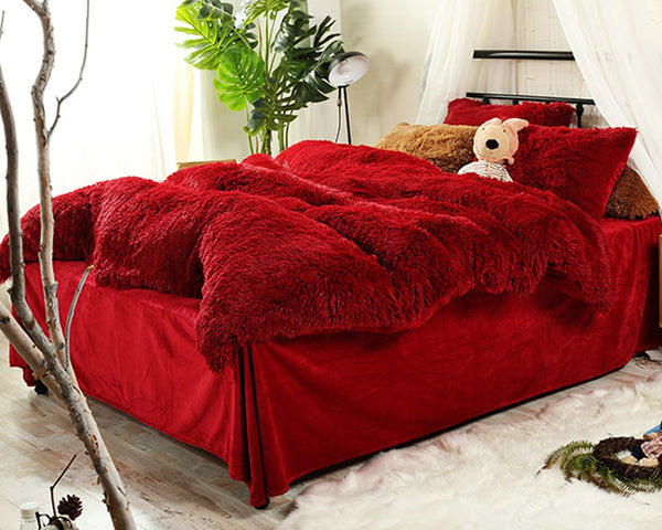 Full Size Hot Red Super Soft Plush 4-Piece Fluffy Bedding Sets/Duvet Cover