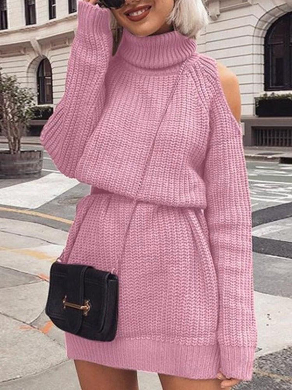 Turtleneck Hollow Long Sleeve Pullover Raglan Sleeve Dress