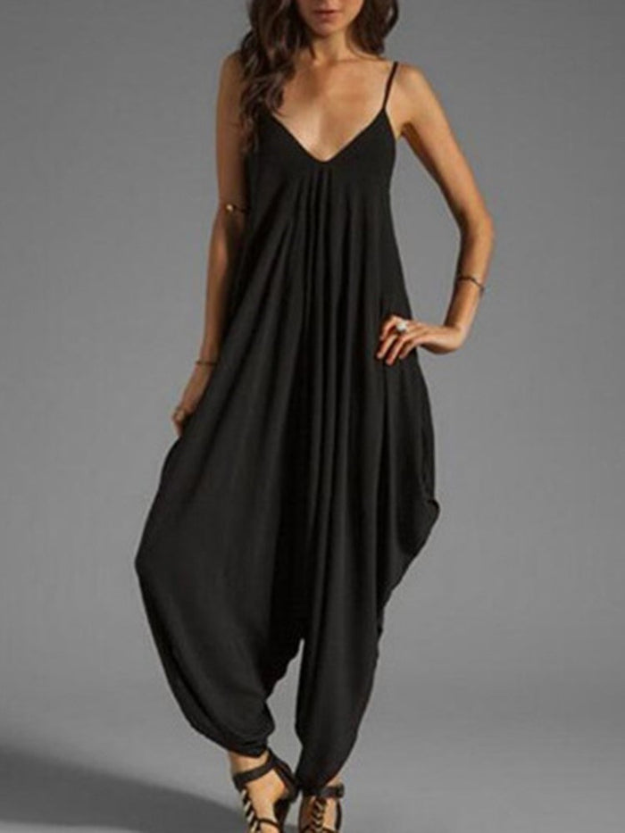 Plain Full Length Fashion Loose Knickerbockers Jumpsuits