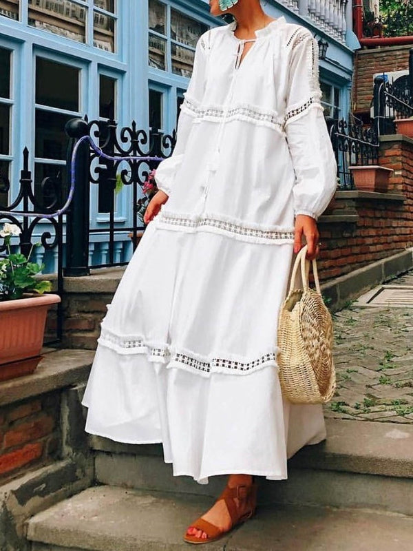 Ankle-Length Long Sleeve V-Neck Pullover High Waist Dress