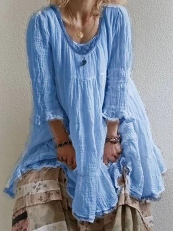Mid-Calf Three-Quarter Sleeve Patchwork A-Line Pullover Dress