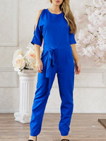 Full Length Plain Lace-Up Slim Pencil Pants Jumpsuit
