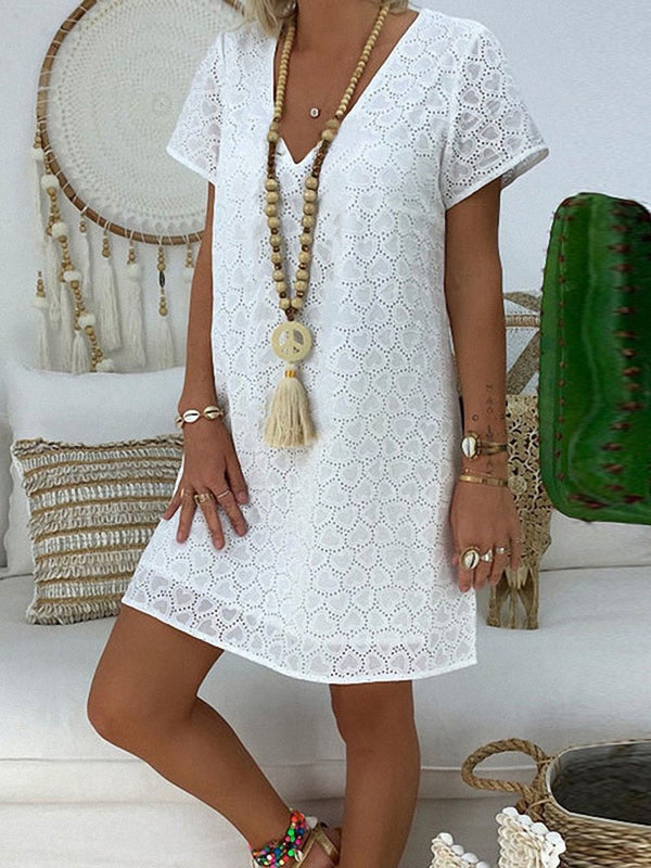 Hollow Short Sleeve Above Knee Date Night/Going Out A-Line Dress