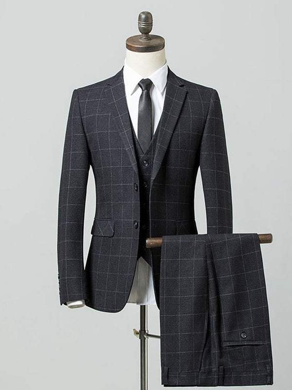 Pants Plaid Pocket Dress Suit
