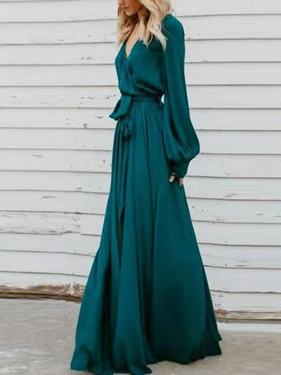 V-Neck Floor-Length Long Sleeve Travel Look Fall Dresses