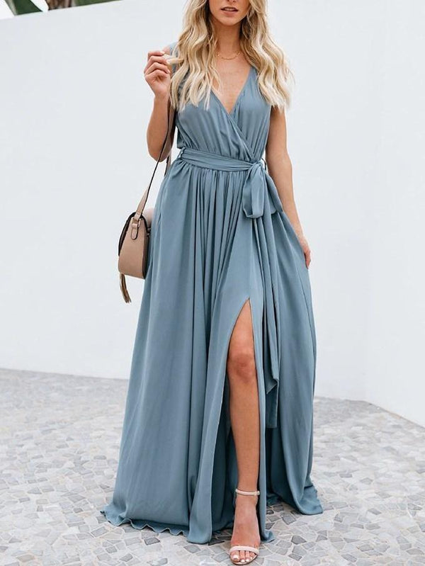 Floor-Length V-Neck Bowknot Summer Expansion Dresses