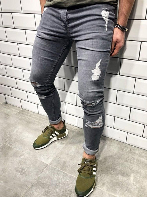Pencil Pants Thin Hole European Mid Waist Jeans
