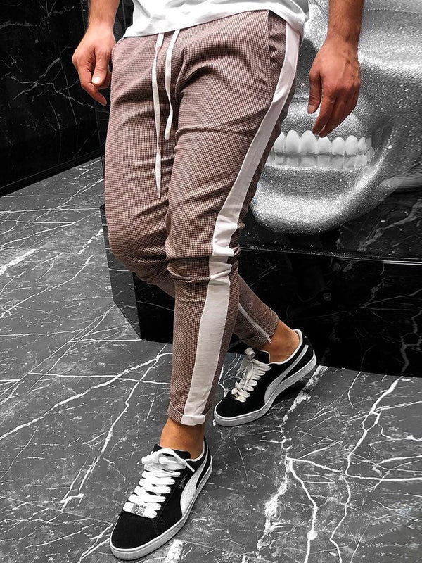 Color Block Patchwork Pencil Pants Mid-Waist Casual Casual Pants