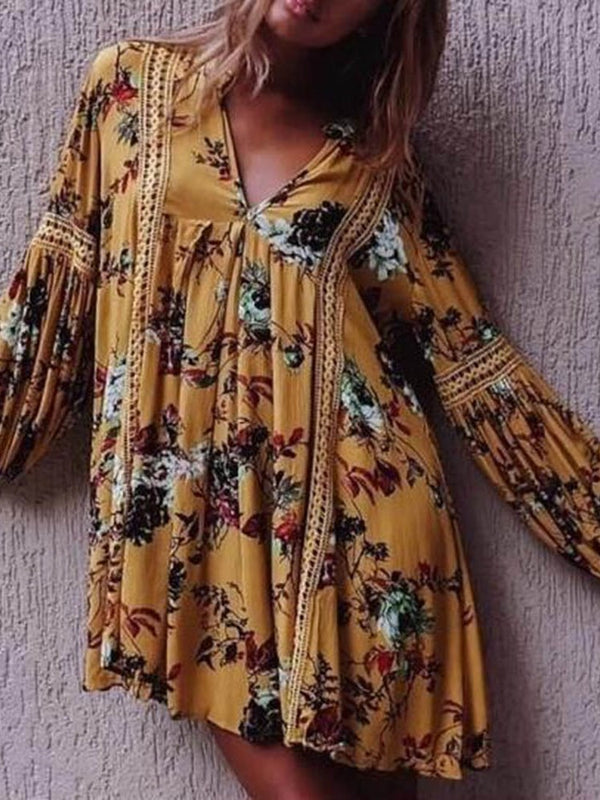 Long Sleeve Above Knee V-Neck Floral Pullover Dress