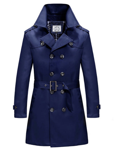 Solid Color Double-Breasted Belt Men's Trench Coat