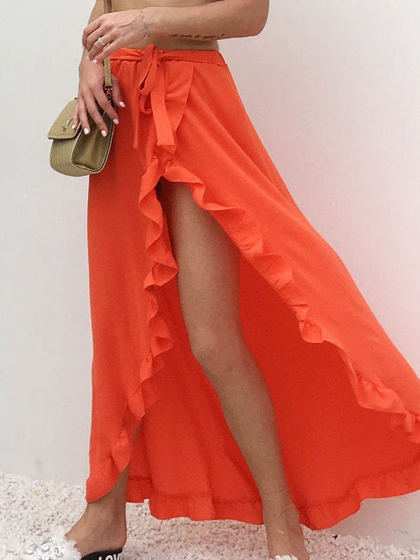 Lace-Up Asymmetrical Ankle-Length High Waist Skirt