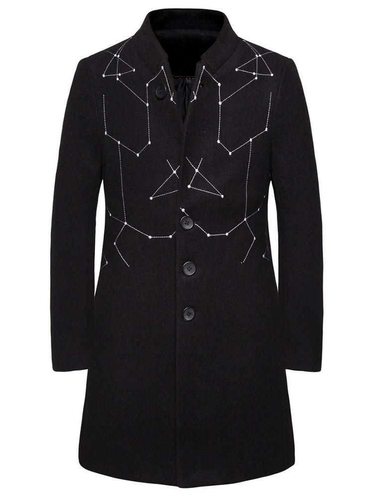 Stand Collar Mid-Length Color Block Fall A Line Coat
