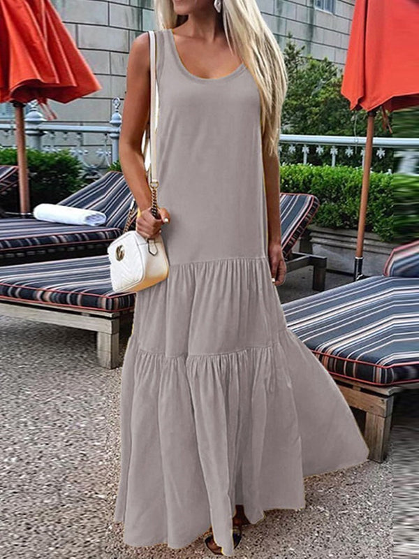 Sleeveless Pleated Ankle-Length Plain Pullover Dress
