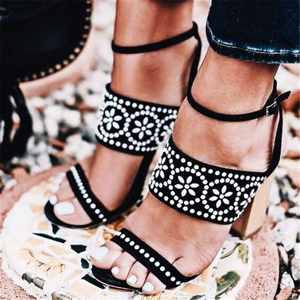 Buckle Open Toe Casual Rhinestone Sandals