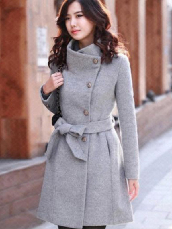 Straight Belt Regular Mid-Length Winter Overcoat