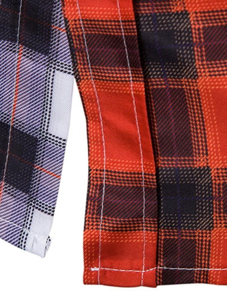 Casual Lapel Plaid Slim Fall Shirt