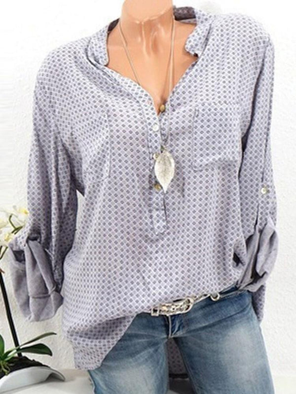 Print Polka Dots Regular Standard Long Sleeve Blouse