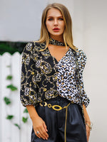 Print Leopard V-Neck Standard Three-Quarter Sleeve Blouse