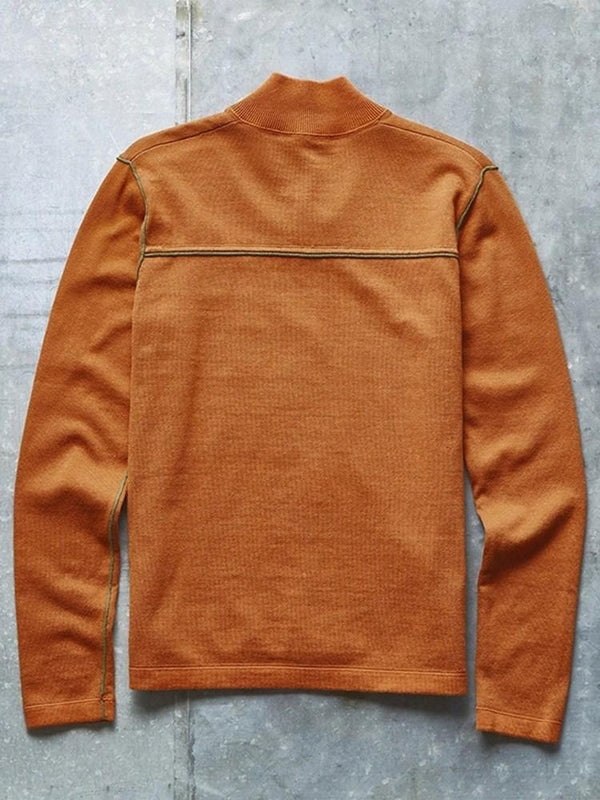 Button Standard Stand Collar Slim Winter Sweater