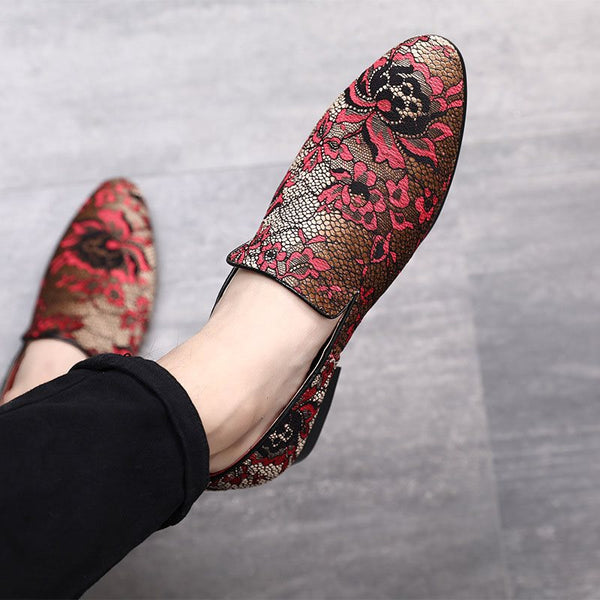 Slip-On Low-Cut Upper Floral Platform Round Toe Printing Leather Thin Shoes