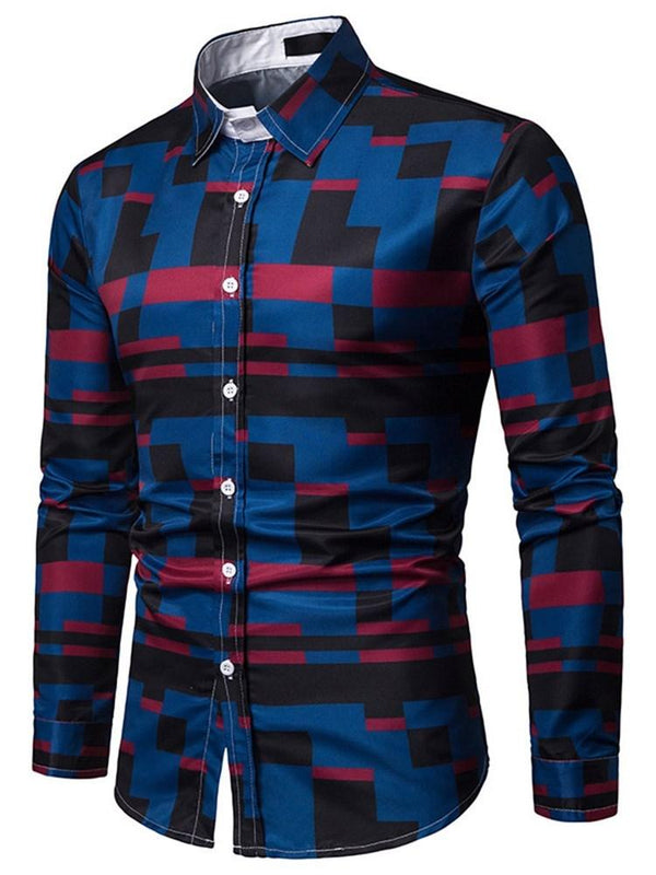 Revers Casual Print Slim Einreiher Shirt