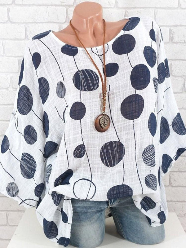Regular Polka Dots Print Nine Points Sleeve Standard Blouse
