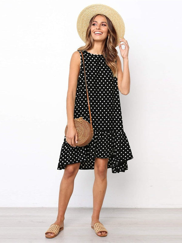 Sleeveless Print Knee-Length A-Line Casual Dress