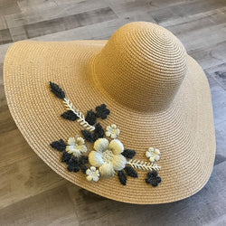 3D Straw Plaited Article Korean Floral Hats