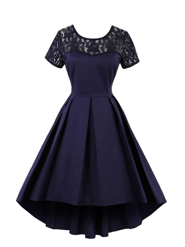 Abito da homecoming in pizzo blu a maniche corte scoop