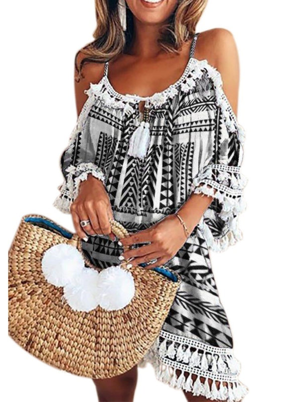 Print Three-Quarter Sleeve Above Knee A-Line Travel Look Dress