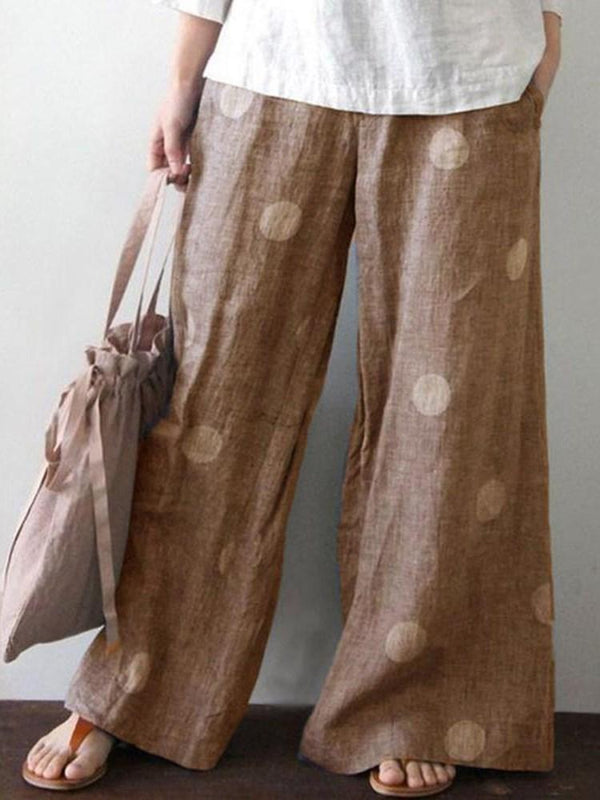 Loose Polka Dots Print Wide Legs Mid Waist Casual Pants