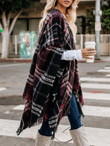 Casual Plaid Thin Fall Cape