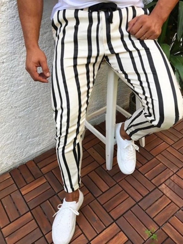 Print Stripe Pencil Pants Fall Lace-Up Casual Pants