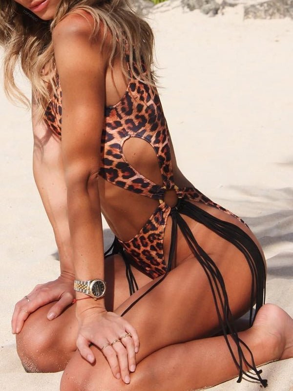 One Piece Tassel Leopard Swimwear