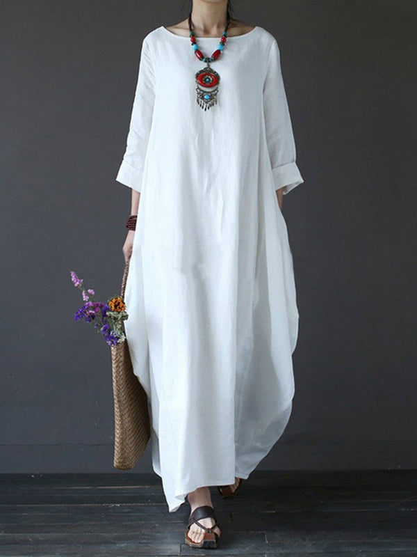 L-5XL Ankle-Length Round Neck Expansion Batwing Sleeve Dress