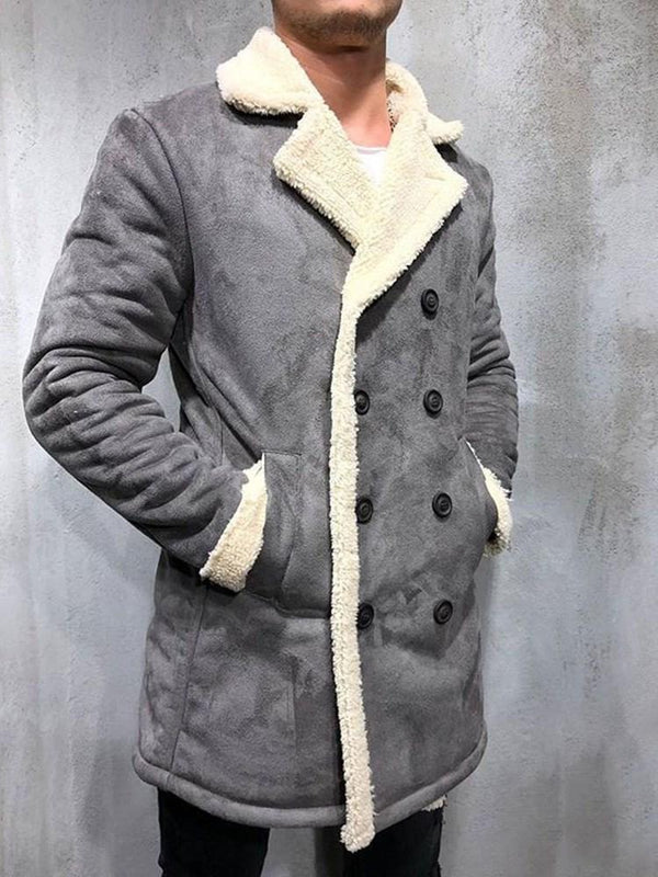Button Color Block Mid-Length Double-Breasted Straight Coat