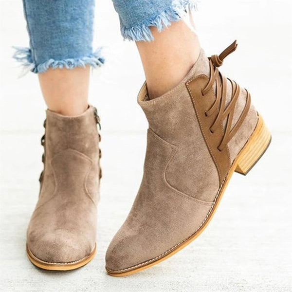 Round Toe Side Zipper Patchwork Chunky Heel Casual Lace-Up Boots