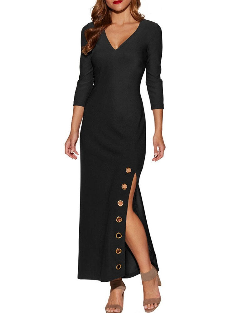 Three-Quarter Sleeve Split Side V-Neck Maxi Dress