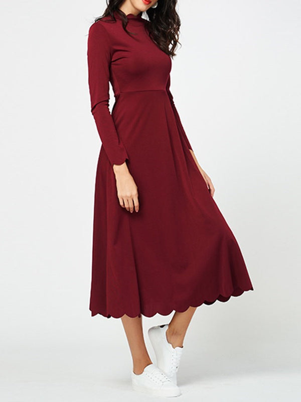 Wave Cut Stand Collar Mid-Calf Date Night/Going Out Spring Dress