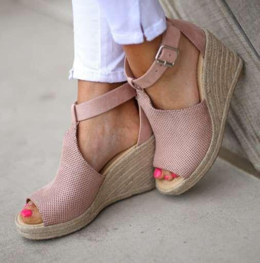 Buckle Peep Toe Ankle Strap Wedge Heel Plain High-Cut Upper Sandals
