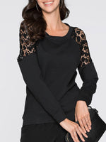 Lace Patchwork Long Sleeve Scoop Neck Women T-shirt