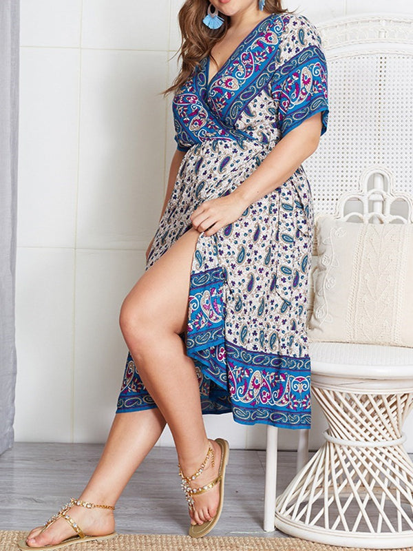 V-Neck Short Sleeve Lace-Up Summer Mid Waist Dress