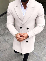 Solid Color Straight Double-breasted Men Spring Coat