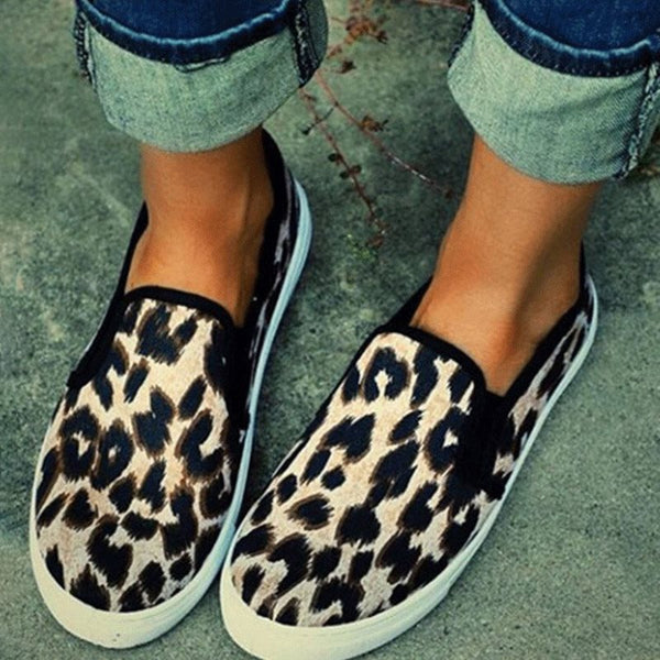 Slip-on Round Toe Flat con zapatos finos casuales de leopardo