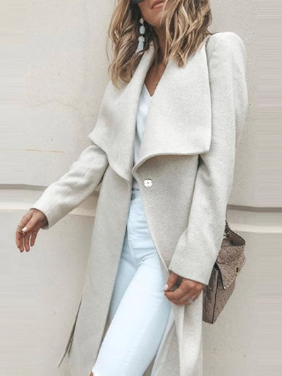 One Button Loose Regular Long Lapel Overcoat