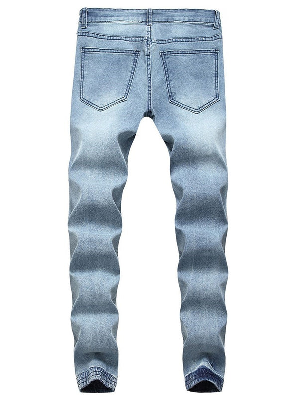 Plain Hole European Zipper Jeans