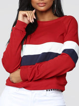 Color Block Regular Spring Round Neck Hoodie