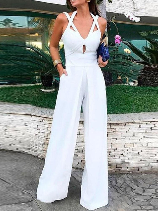 Strap Fashion Plain Mid Waist Wide Legs Jumpsuit