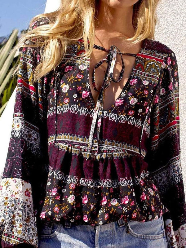 Floral Lace-Up Long Sleeve Standard Blouse