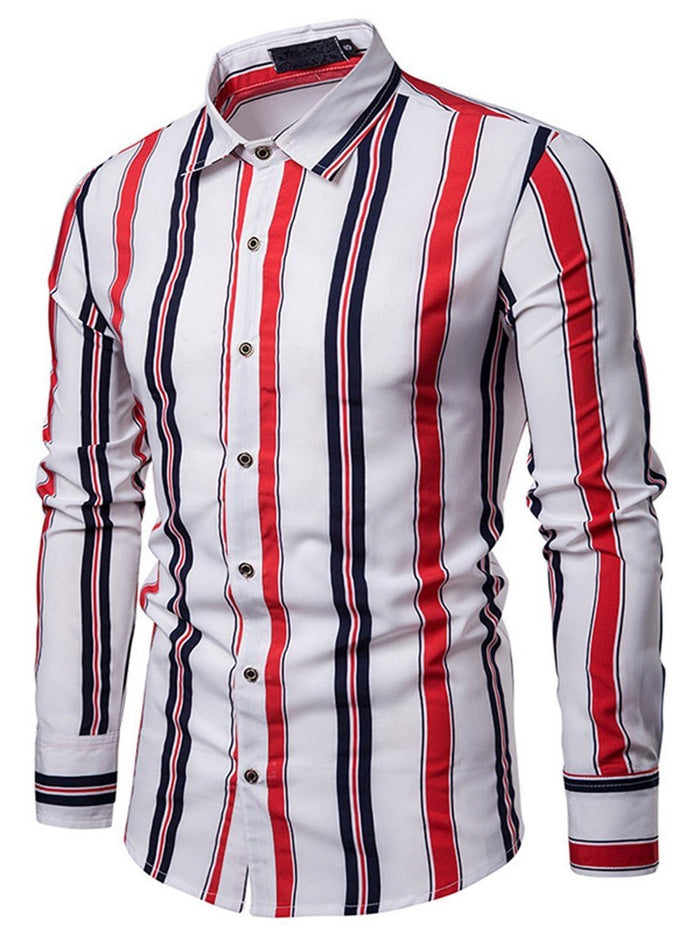 Casual Lapel Stripe Slim Fall Shirt